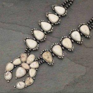 Ivory Natural Stone Squash Blossom Necklace
